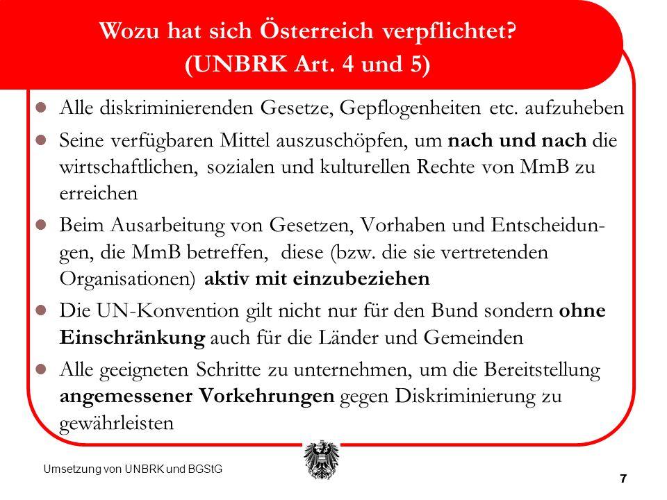 Wozu hat sich Österreich verpflichtet (UNBRK Art. 4 und 5)
