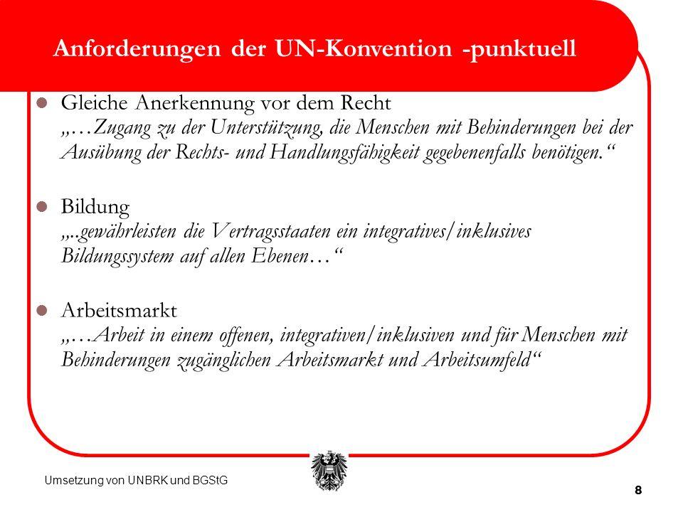 Anforderungen der UN-Konvention -punktuell
