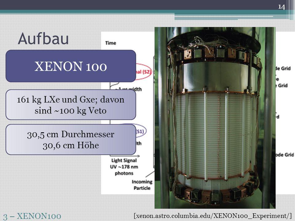 161 kg LXe und Gxe; davon sind ~100 kg Veto