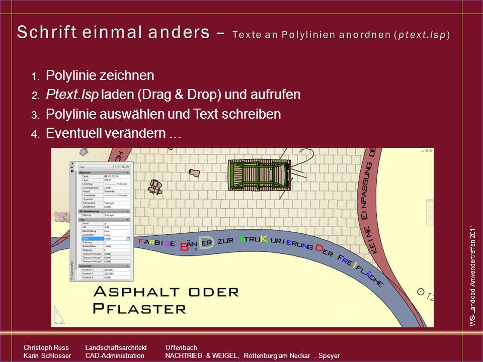 Schrift einmal anders – Texte an Polylinien anordnen (ptext.lsp)