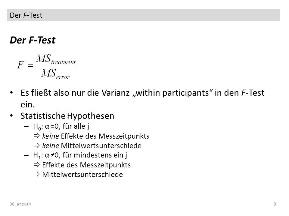 """Der F-Test Der F-Test. Es fließt also nur die Varianz """"within participants in den F-Test ein. Statistische Hypothesen."""