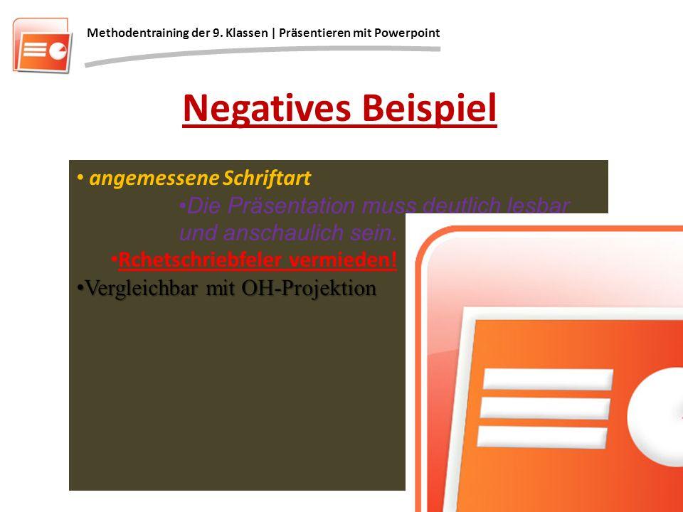 Negatives Beispiel angemessene Schriftart