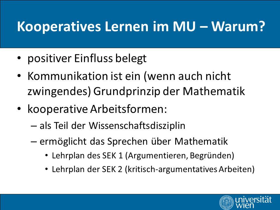 Kooperatives Lernen im MU – Warum
