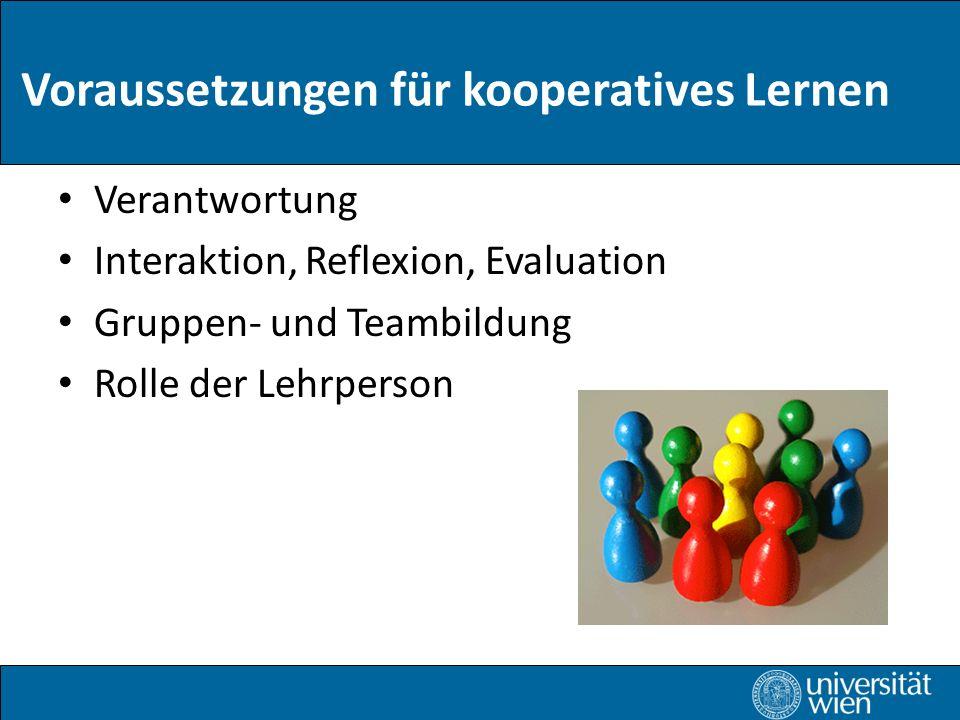 Voraussetzungen für kooperatives Lernen