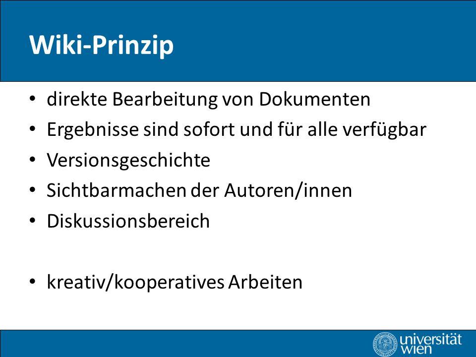 Wiki-Prinzip direkte Bearbeitung von Dokumenten