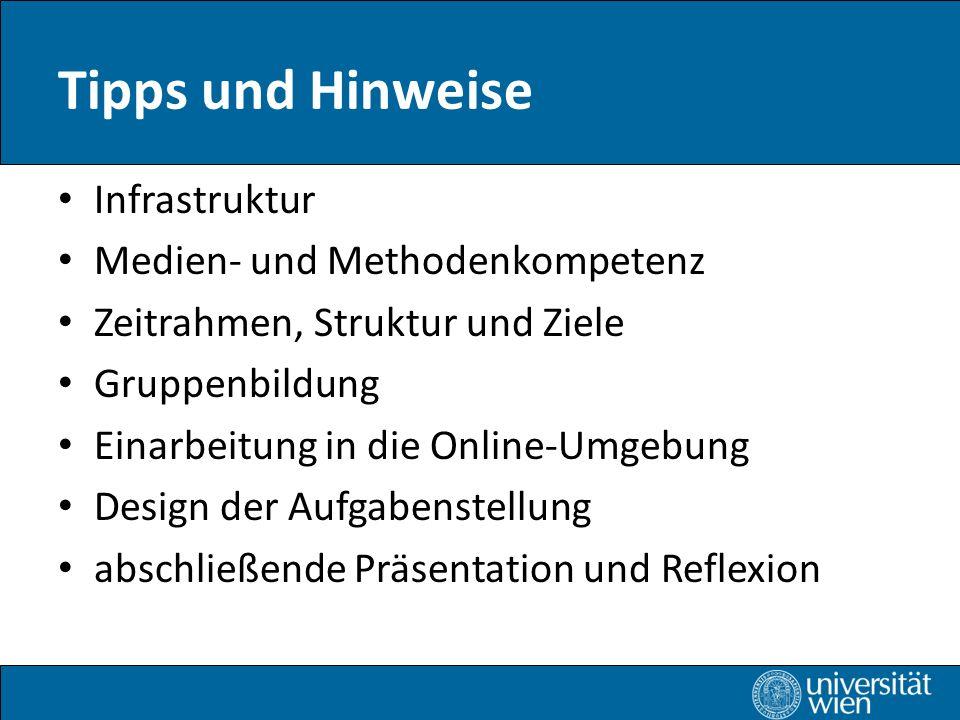 Tipps und Hinweise Infrastruktur Medien- und Methodenkompetenz