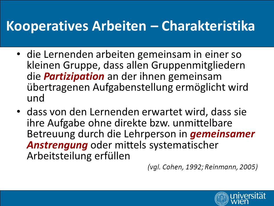 Kooperatives Arbeiten – Charakteristika