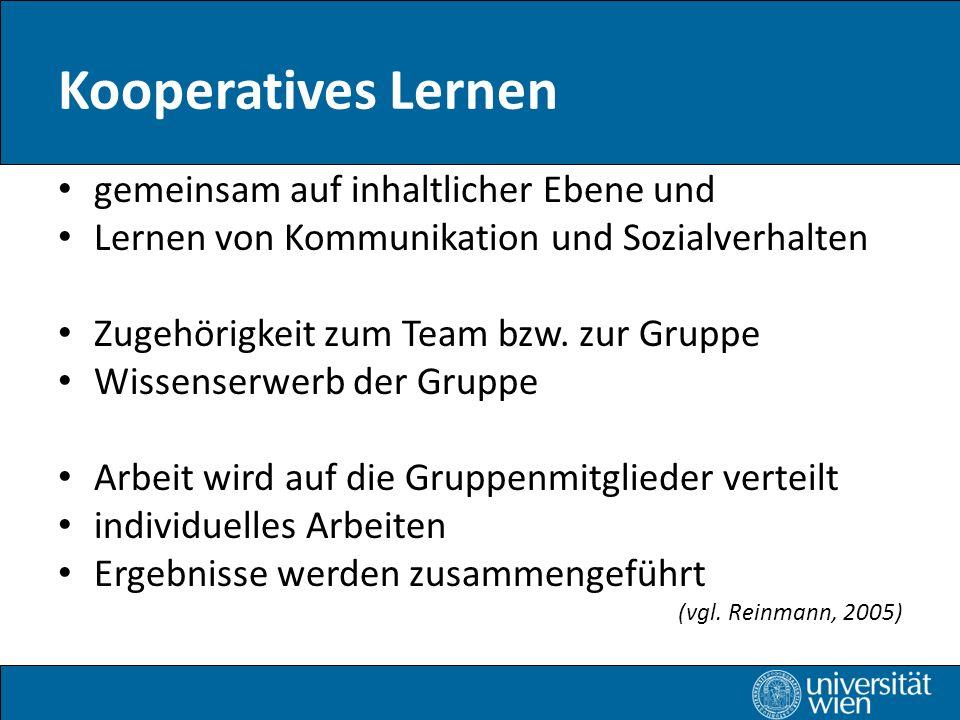 Kooperatives Lernen gemeinsam auf inhaltlicher Ebene und