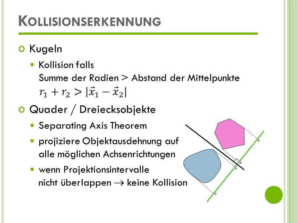 Kollisionserkennung Kugeln Quader / Dreiecksobjekte