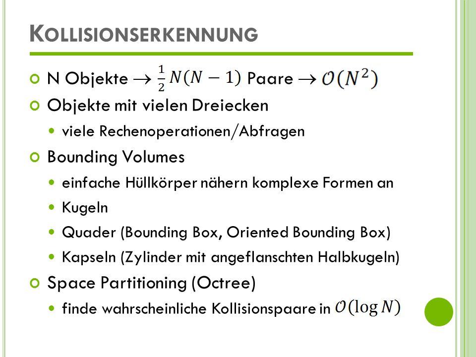Kollisionserkennung N Objekte  Paare  Objekte mit vielen Dreiecken