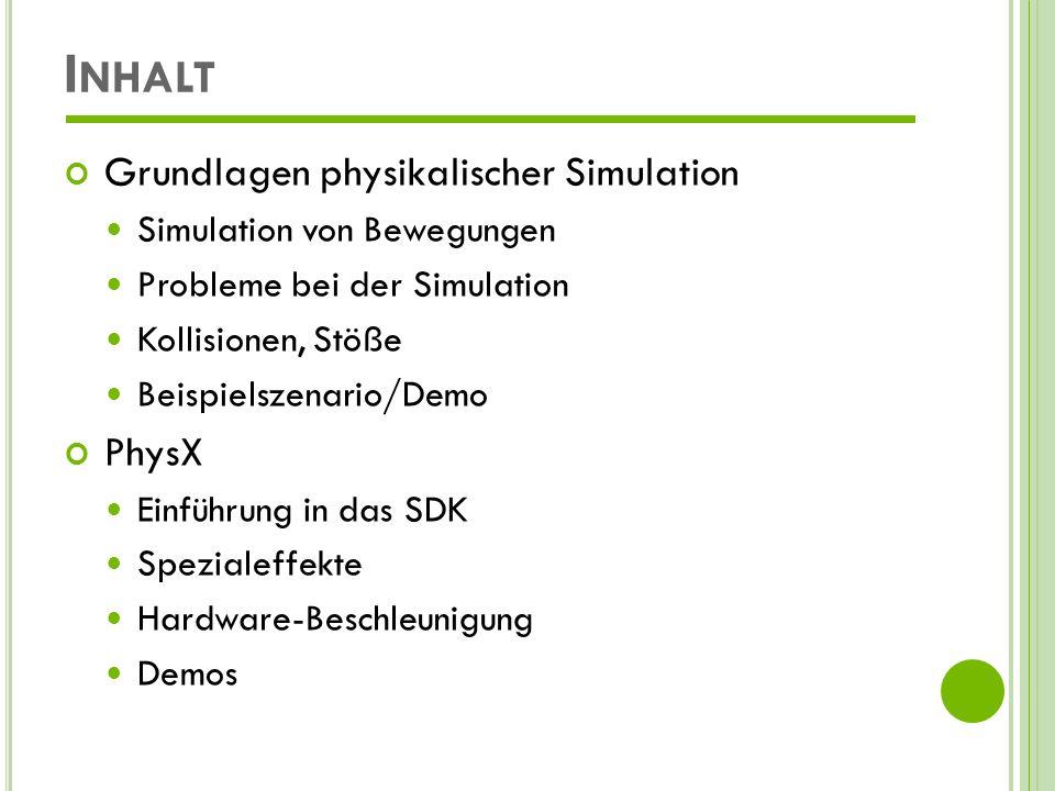 Inhalt Grundlagen physikalischer Simulation PhysX