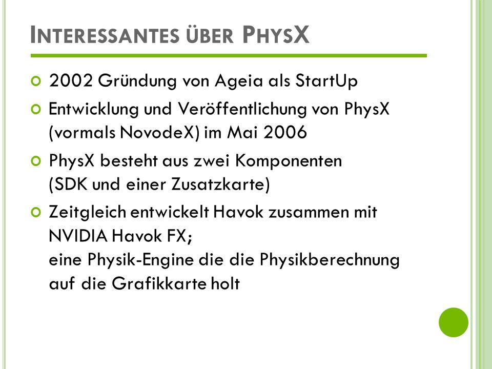 Interessantes über PhysX