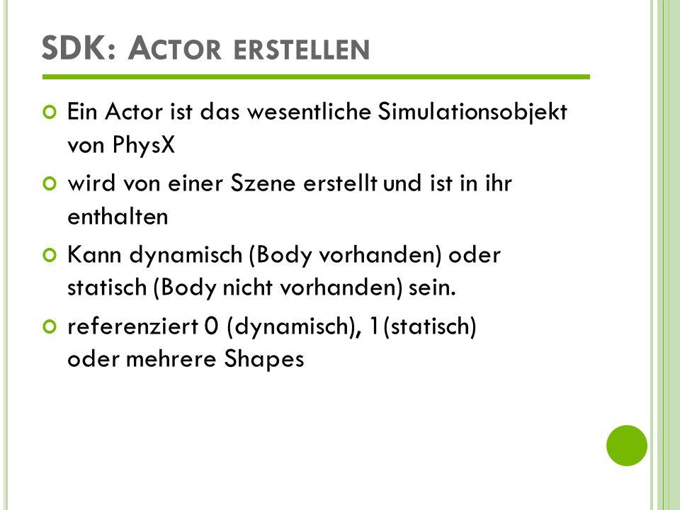 SDK: Actor erstellen Ein Actor ist das wesentliche Simulationsobjekt von PhysX. wird von einer Szene erstellt und ist in ihr enthalten.
