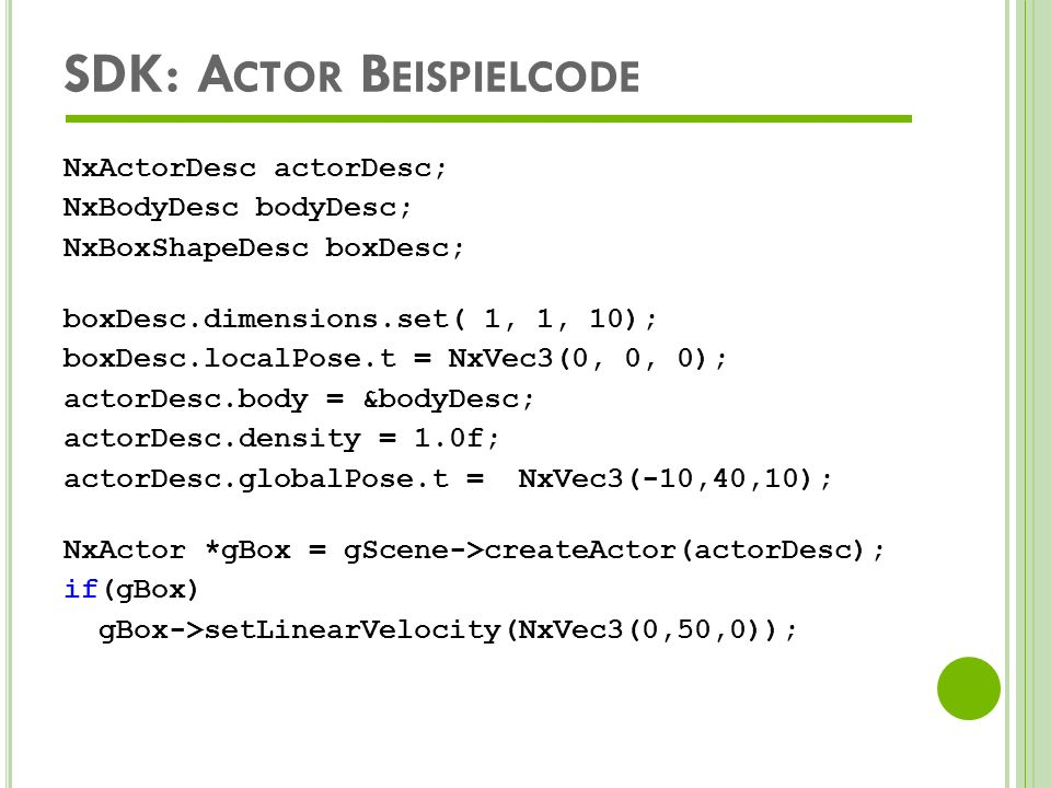 SDK: Actor Beispielcode