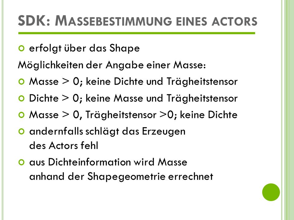 SDK: Massebestimmung eines actors