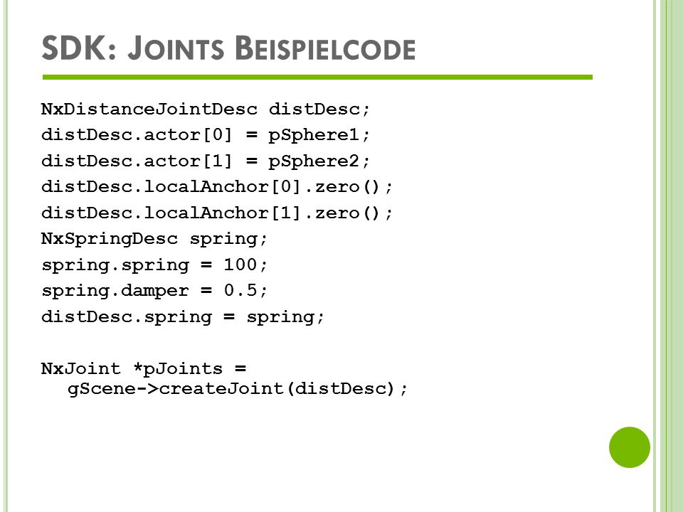 SDK: Joints Beispielcode