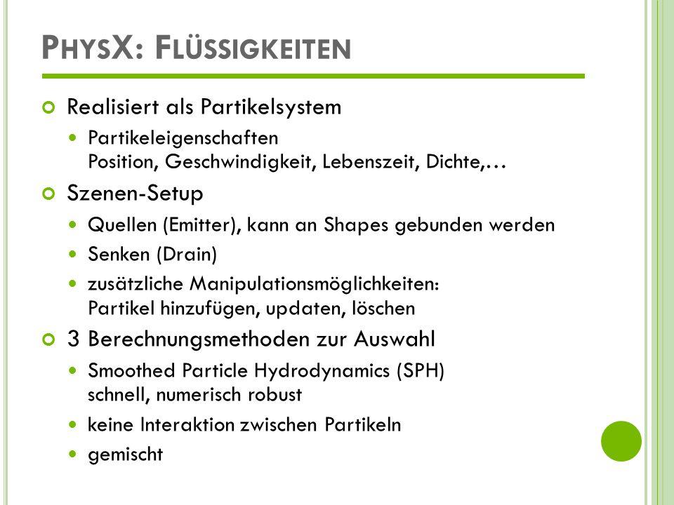 PhysX: Flüssigkeiten Realisiert als Partikelsystem Szenen-Setup