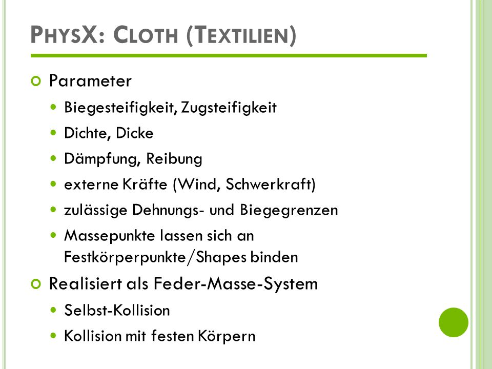 PhysX: Cloth (Textilien)