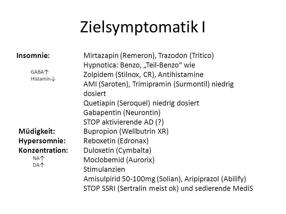 Zielsymptomatik I Insomnie: Mirtazapin (Remeron), Trazodon (Tritico)