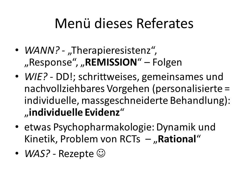 "Menü dieses Referates WANN - ""Therapieresistenz , ""Response , ""REMISSION – Folgen."