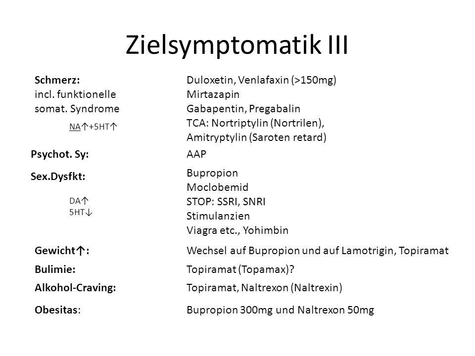 Zielsymptomatik III Schmerz: incl. funktionelle somat. Syndrome