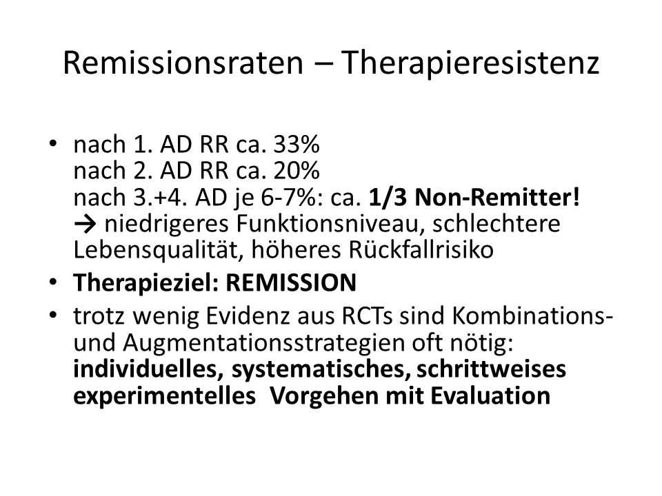 Remissionsraten – Therapieresistenz