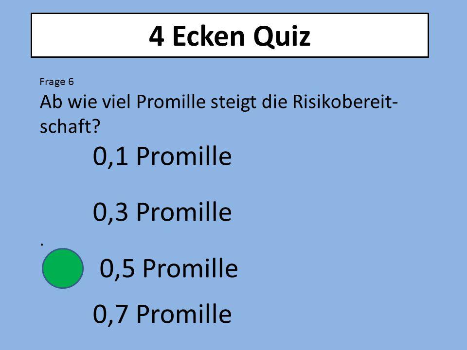 4 Ecken Quiz 0,3 Promille 0,5 Promille 0,7 Promille