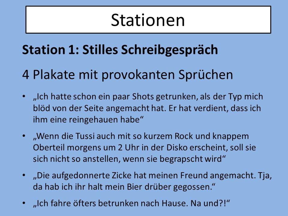 Stationen Station 1: Stilles Schreibgespräch