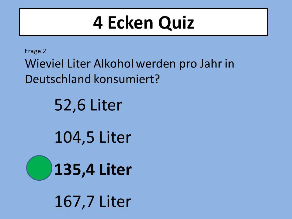 4 Ecken Quiz 52,6 Liter 104,5 Liter 135,4 Liter 167,7 Liter