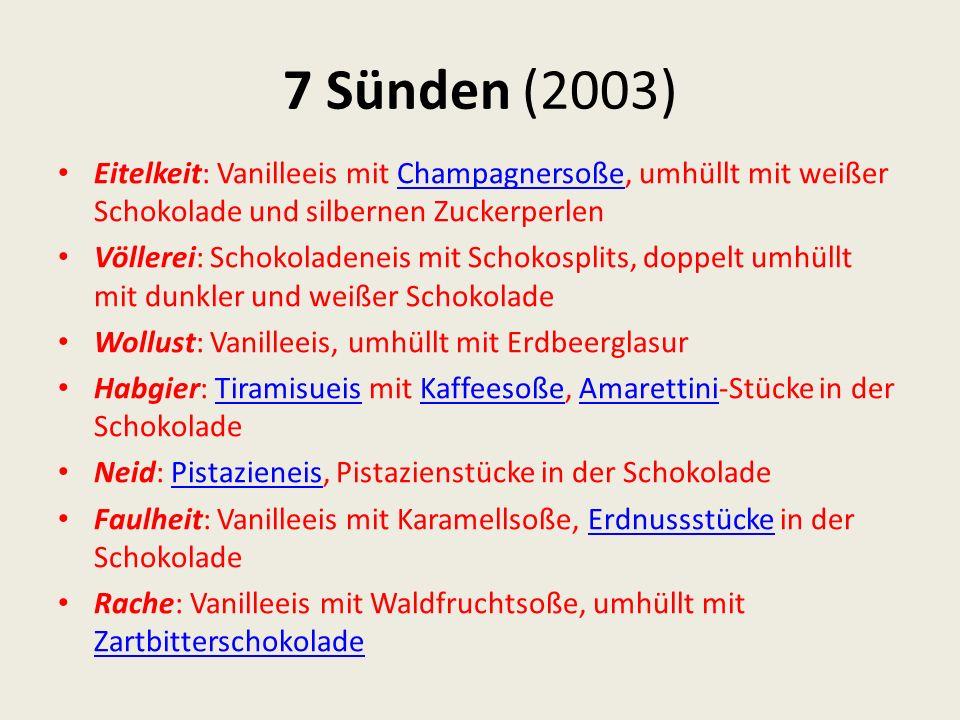 7 Sünden (2003) Eitelkeit: Vanilleeis mit Champagnersoße, umhüllt mit weißer Schokolade und silbernen Zuckerperlen.