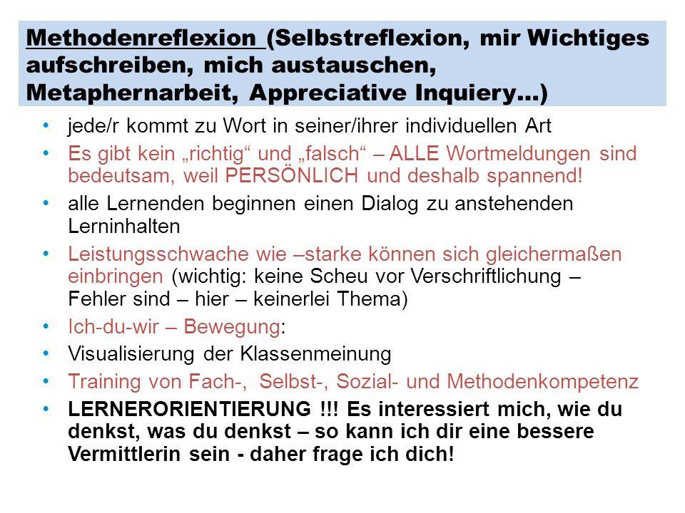 Methodenreflexion (Selbstreflexion, mir Wichtiges aufschreiben, mich austauschen, Metaphernarbeit, Appreciative Inquiery…)
