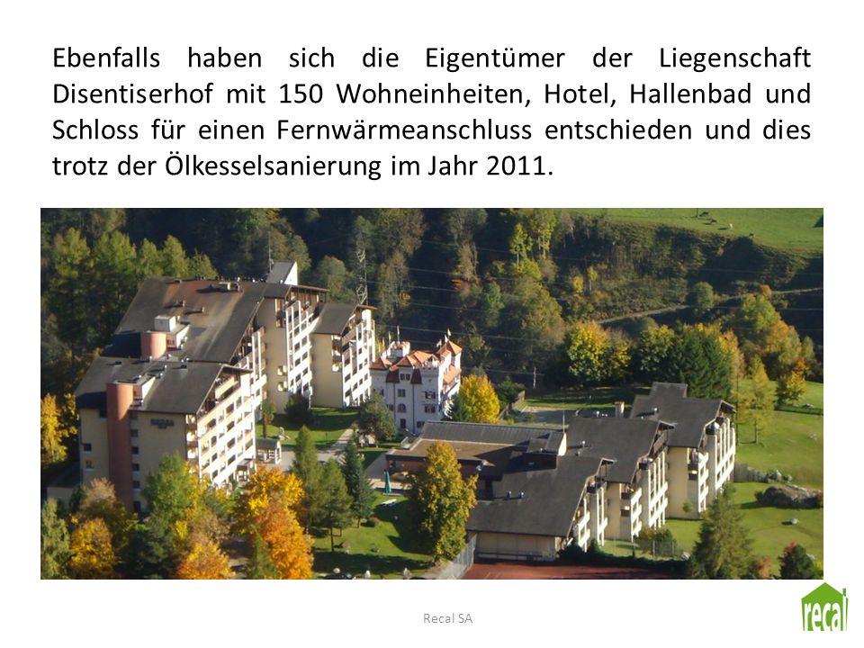 Ebenfalls haben sich die Eigentümer der Liegenschaft Disentiserhof mit 150 Wohneinheiten, Hotel, Hallenbad und Schloss für einen Fernwärmeanschluss entschieden und dies trotz der Ölkesselsanierung im Jahr 2011.