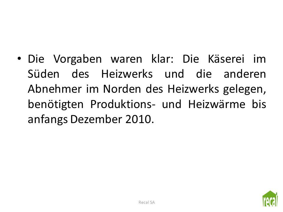 Die Vorgaben waren klar: Die Käserei im Süden des Heizwerks und die anderen Abnehmer im Norden des Heizwerks gelegen, benötigten Produktions- und Heizwärme bis anfangs Dezember 2010.
