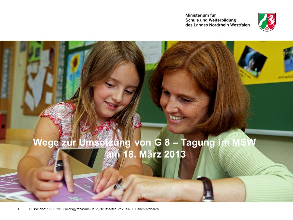 Wege zur Umsetzung von G 8 – Tagung im MSW