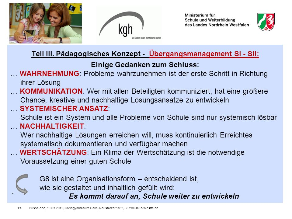 Teil III. Pädagogisches Konzept - Übergangsmanagement SI - SII: