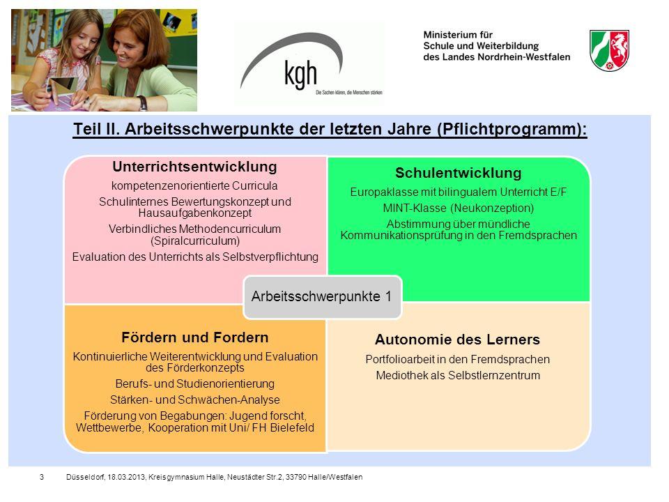 Teil II. Arbeitsschwerpunkte der letzten Jahre (Pflichtprogramm):