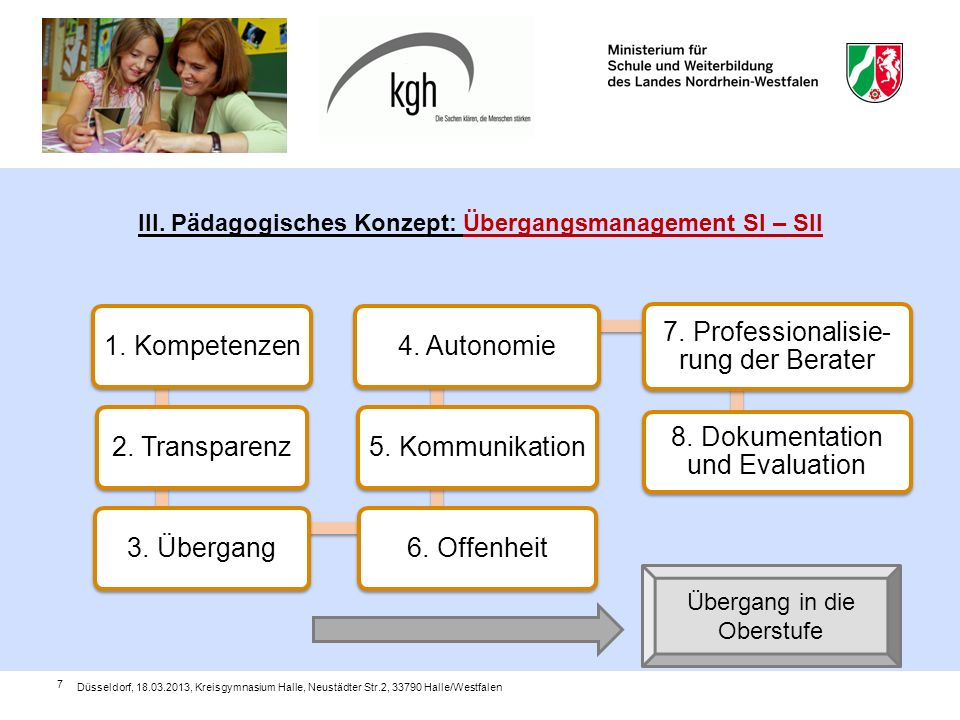 III. Pädagogisches Konzept: Übergangsmanagement SI – SII