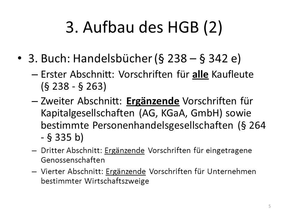 3. Aufbau des HGB (2) 3. Buch: Handelsbücher (§ 238 – § 342 e)
