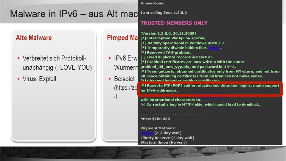 Malware in IPv6 – aus Alt mach Neu