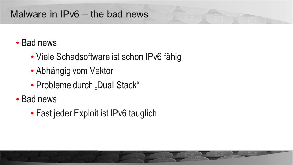 Malware in IPv6 – the bad news