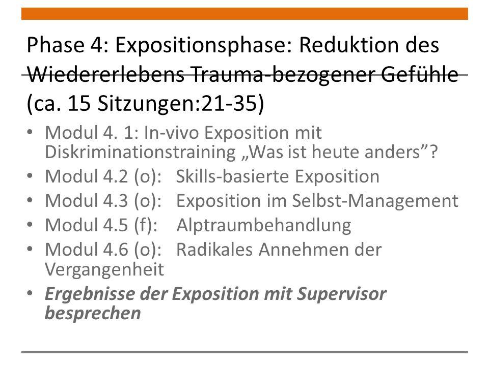 Phase 4: Expositionsphase: Reduktion des Wiedererlebens Trauma-bezogener Gefühle (ca. 15 Sitzungen:21-35)