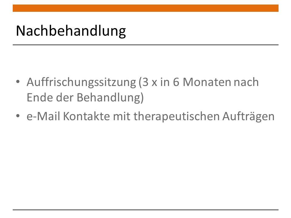 Nachbehandlung Auffrischungssitzung (3 x in 6 Monaten nach Ende der Behandlung) e-Mail Kontakte mit therapeutischen Aufträgen.