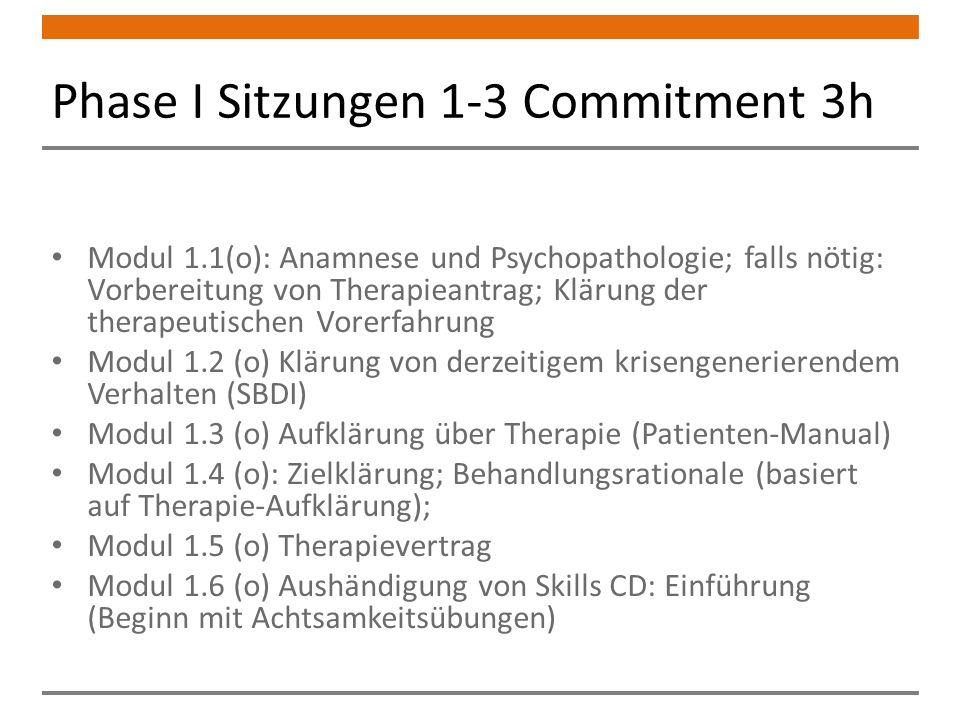 Phase I Sitzungen 1-3 Commitment 3h