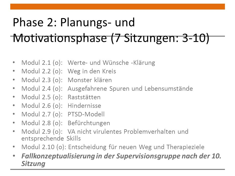 Phase 2: Planungs- und Motivationsphase (7 Sitzungen: 3-10)
