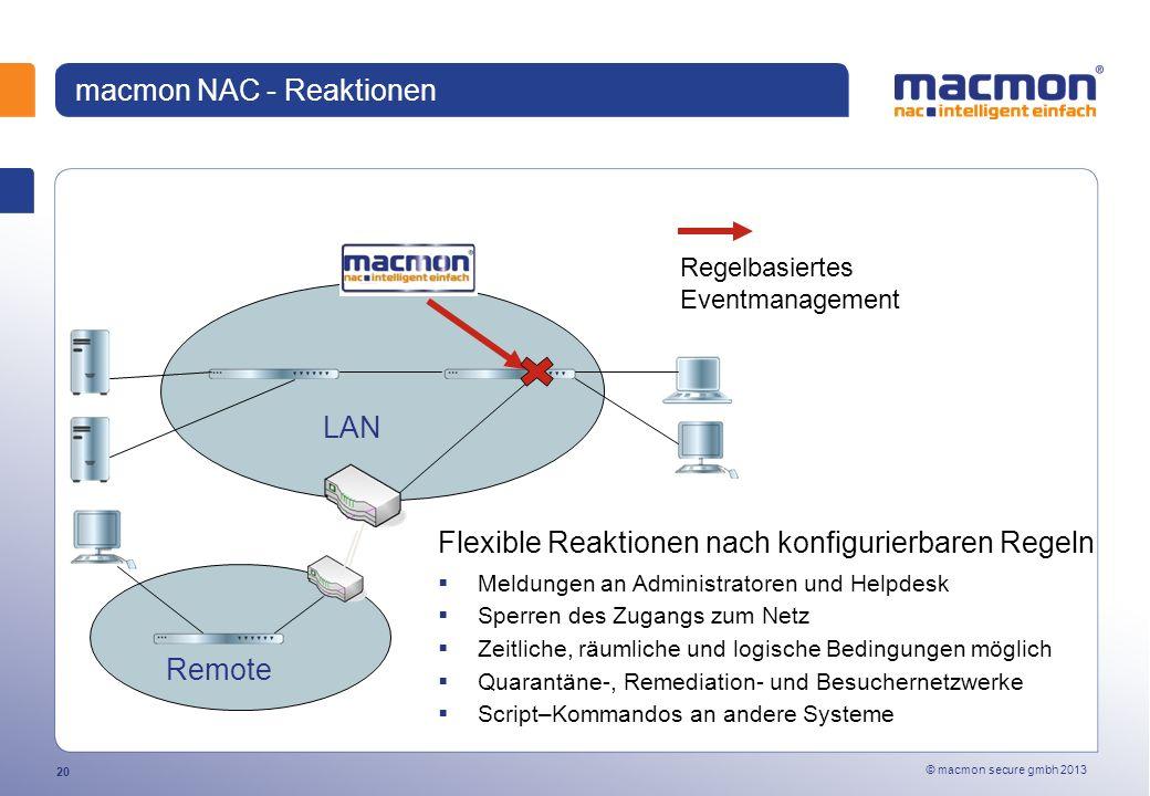 macmon NAC - Reaktionen