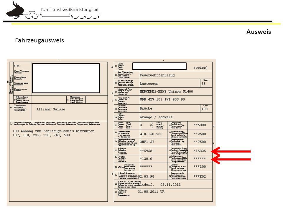 Ausweis Fahrzeugausweis