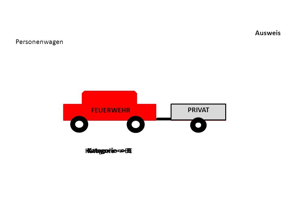 Ausweis Personenwagen FEUERWEHR PRIVAT FEUERWEHR Kategorie => BE Kategorie => B Kategorie => B