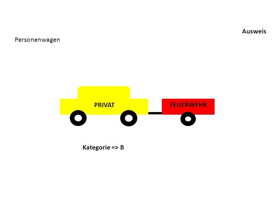 Ausweis Personenwagen PRIVAT FEUERWEHR Kategorie => B