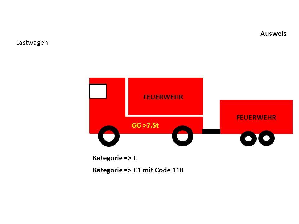 Ausweis Lastwagen FEUERWEHR GG >7.5t FEUERWEHR Kategorie => C Kategorie => C1 mit Code 118