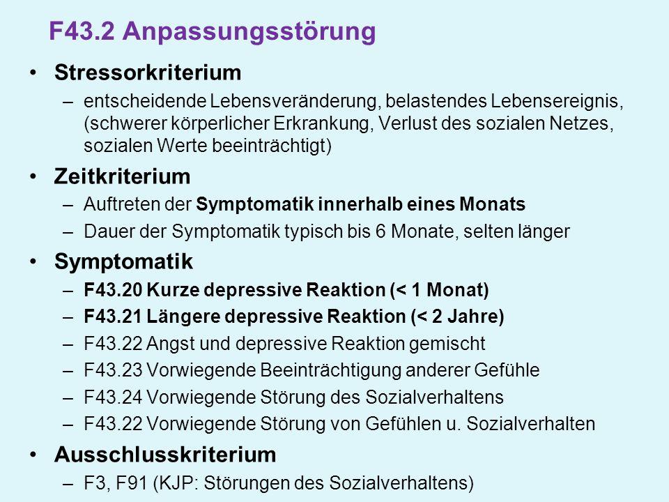 F43.2 Anpassungsstörung Stressorkriterium Zeitkriterium Symptomatik